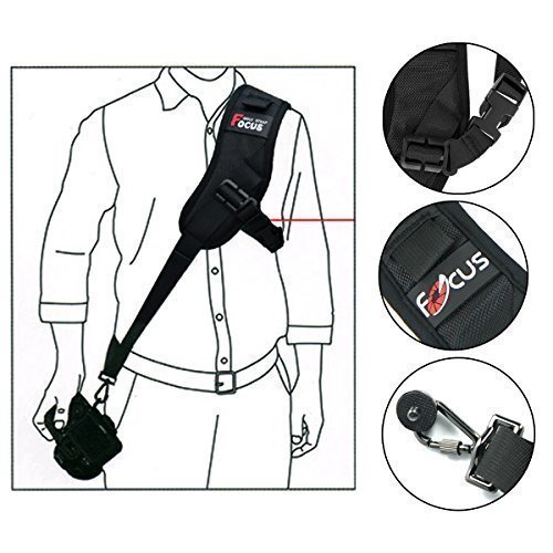 GHB Camera Strap Focus F-1 Quick Rapid Strap Black Camera Shoulder Sling Belt for Camera DSLR